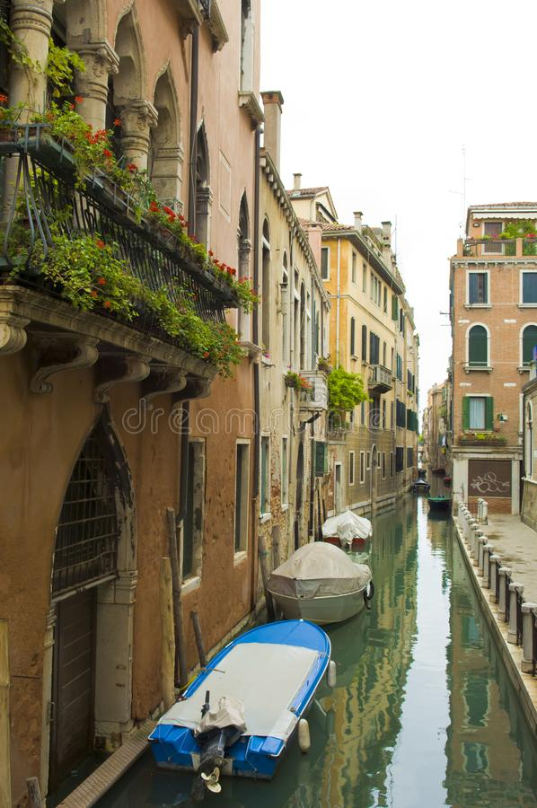 Venetian Houses on Small Canal, Venice, Italy royalty free stock image