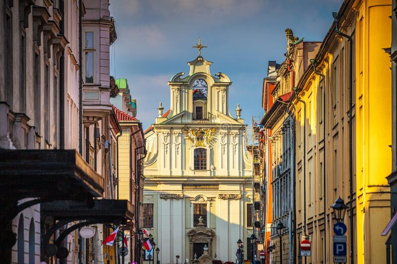Historic buildings in the streets of Krakow stock photo