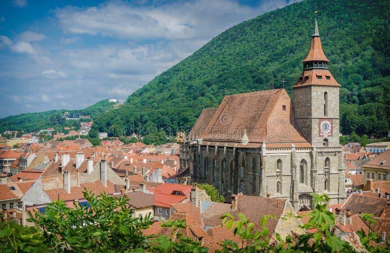 Brasov, historical center and the Black Church stock photos