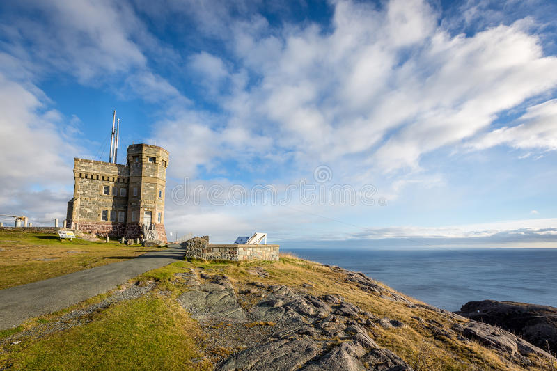 Historic Cabot Tower, Signal Hill, Newfoundland and Labrador. Sunny day overlooking the ocean from Cabot Tower on Signal Hill, Newfoundland and Labrador stock image