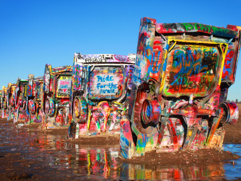 Historic Cadillac Ranch. On Route 66 stock photography