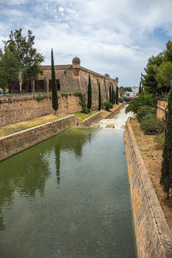 Historic canal in Palma de Majorca city center, Balearic Islands royalty free stock photos
