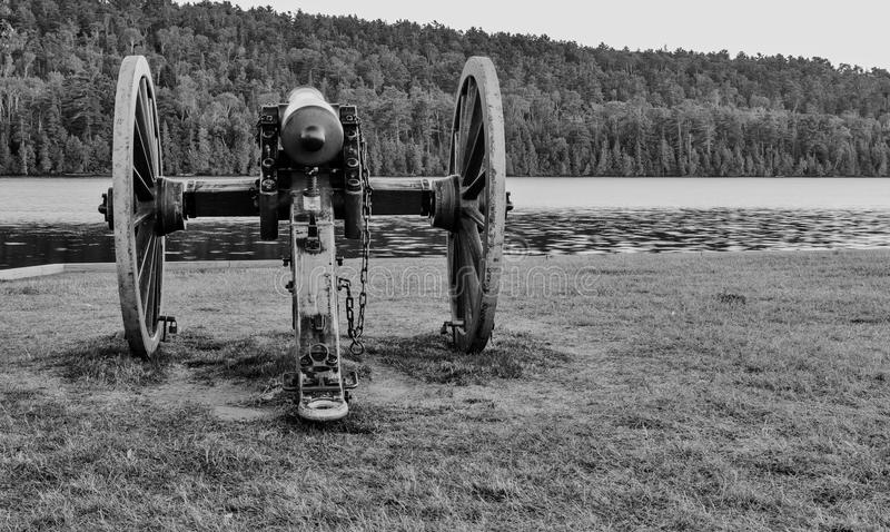 Historic Cannon. Historical cannon aimed at the wilderness and ready for action. Fort Wilkins State Park. Copper Harbor, Michigan stock photos