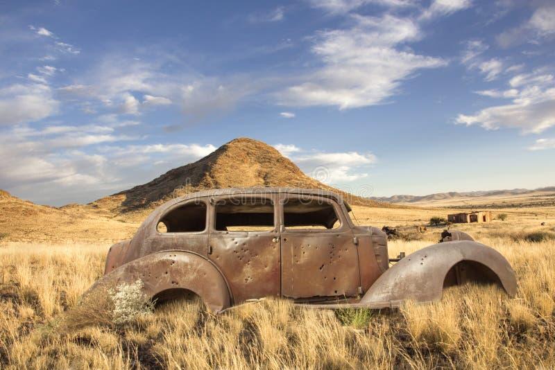 Historic Car Bullet Holes Stock Photo