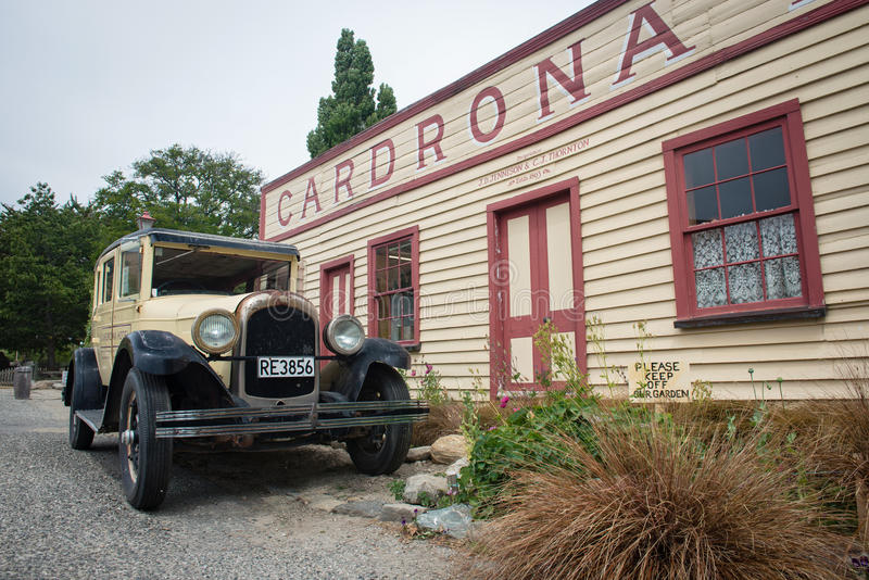 Historic Cardrona Hotel built in 1863 near the town of Wanaka, New Zealand. WANAKA, NEW ZEALAND - JAN 7, 2016: Historic Cardrona Hotel built in 1863 near the stock photography