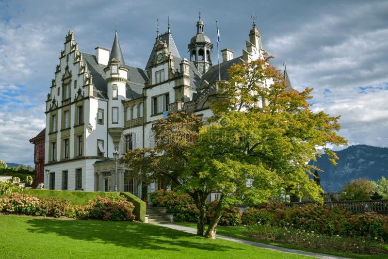 Historic Castle Meggenhorn near Meggen, Switzerland. In beautiful evening light stock images