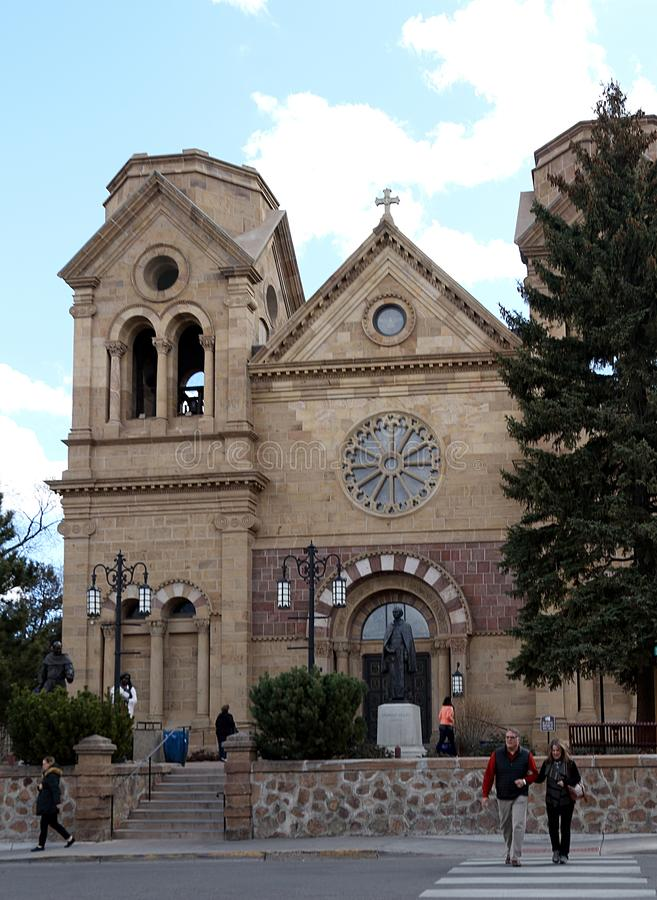 Historic Cathedral Basilica of St Francis Assisi in Santa Fe New Mexico stock photos