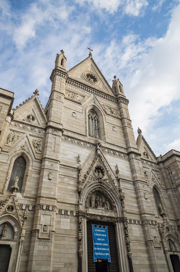 The historic cathedral Duomo in Naples in Italy royalty free stock photography