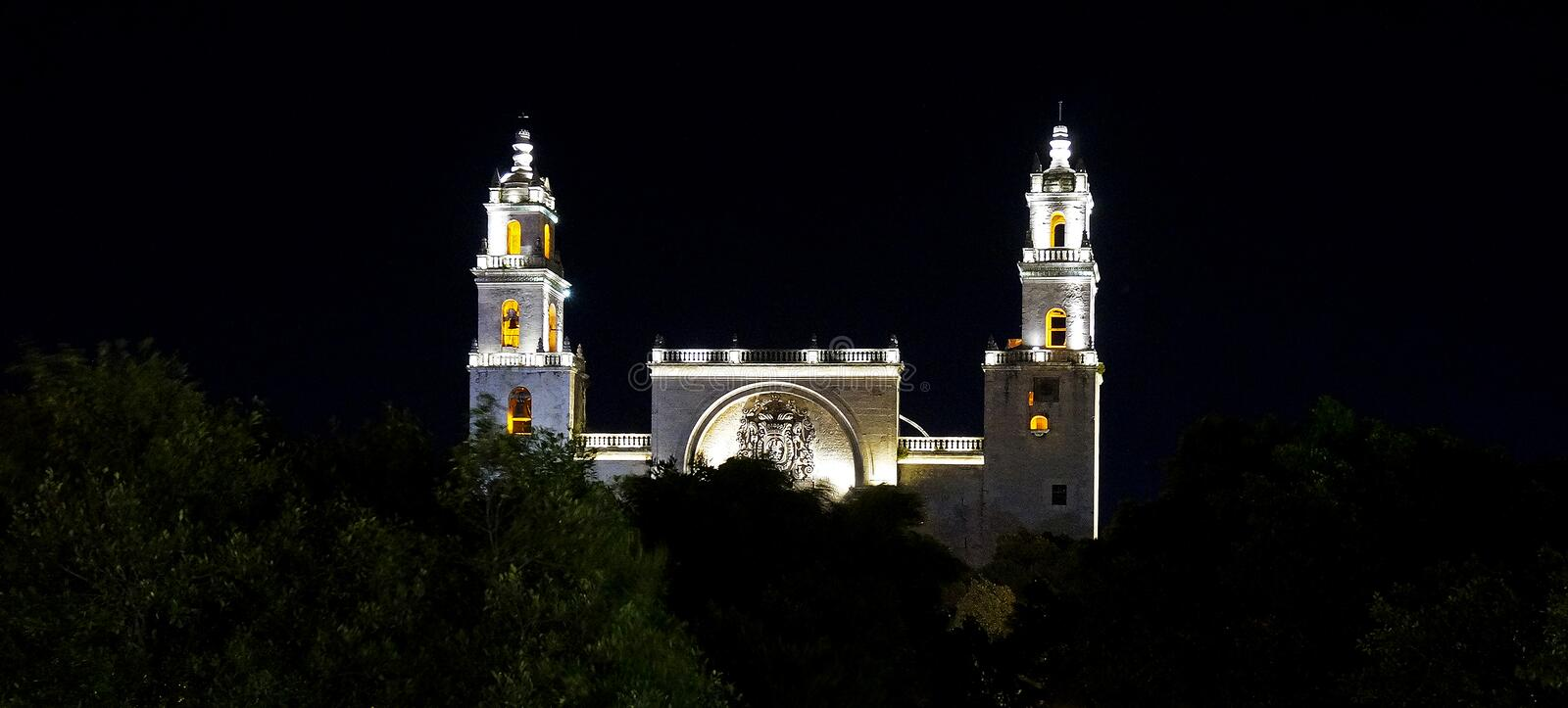 Historic cathedral at night in Merida, Mexico. Historic cathedral glows after dark in the main square in Merida Mexico royalty free stock photos