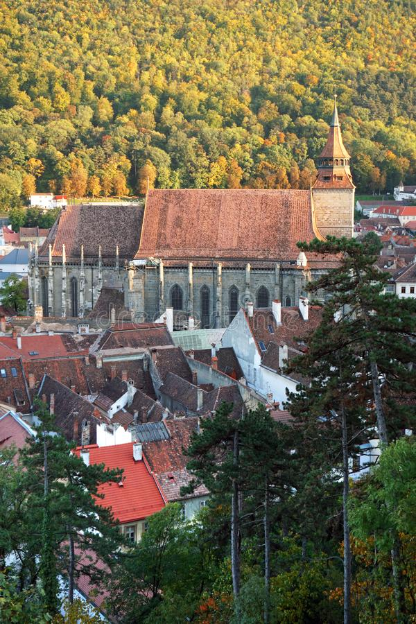 Historic center of Brasov, Romania. Black church. royalty free stock images