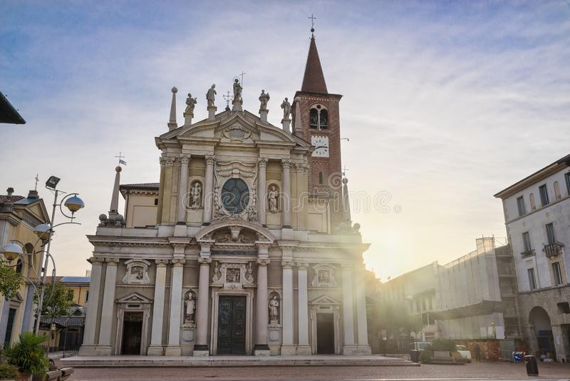 Historic center of Busto Arsizio and square San Giovanni, Italy stock photos