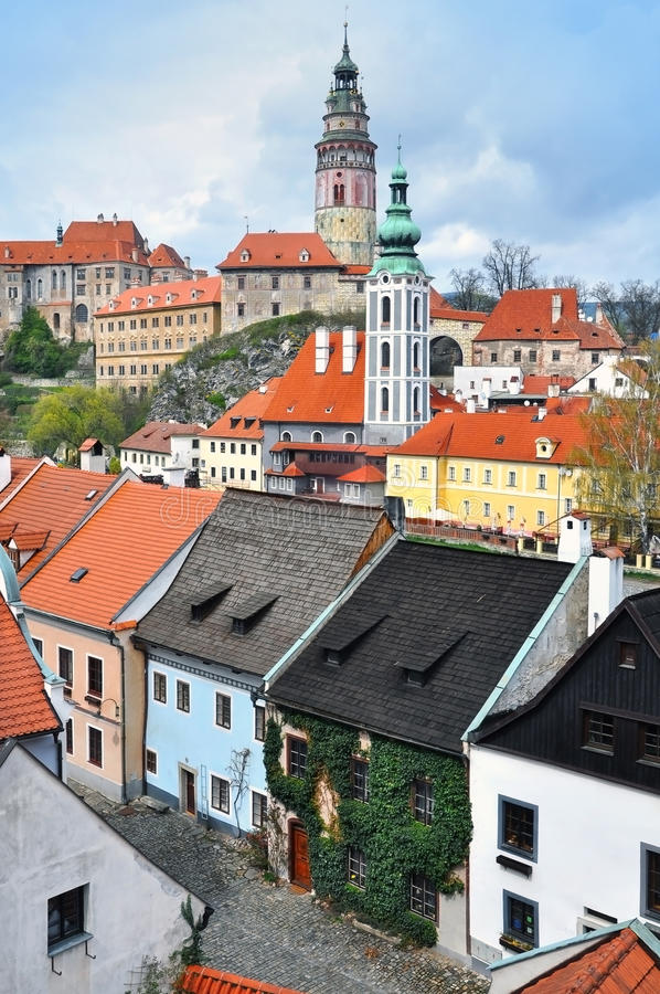 The historic center of Cesky Krumlov. stock image