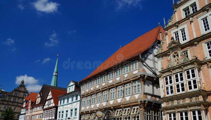 Historic Center of Hameln: colorful painted half-timbered and Renaissance style buildings. stock image