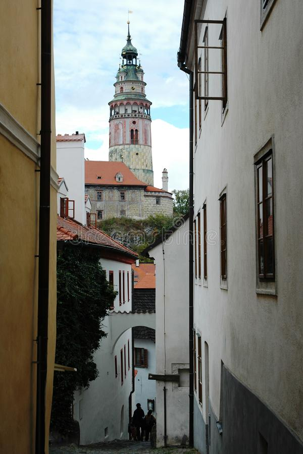 The historic center of town Cesky Krumlov with tower of Krumlov castle stock images