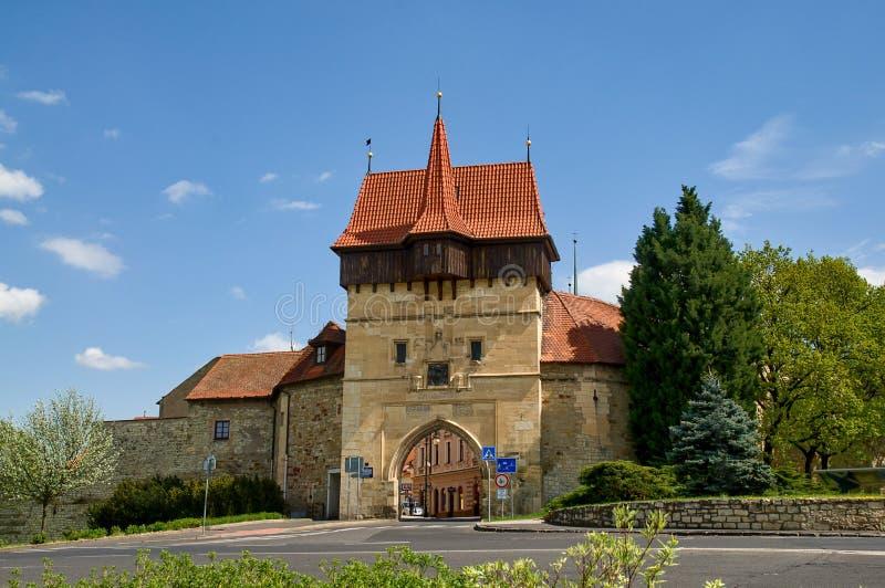 Historic center town Louny. Zatecka gate in historic center town Louny - Czech republic stock photo