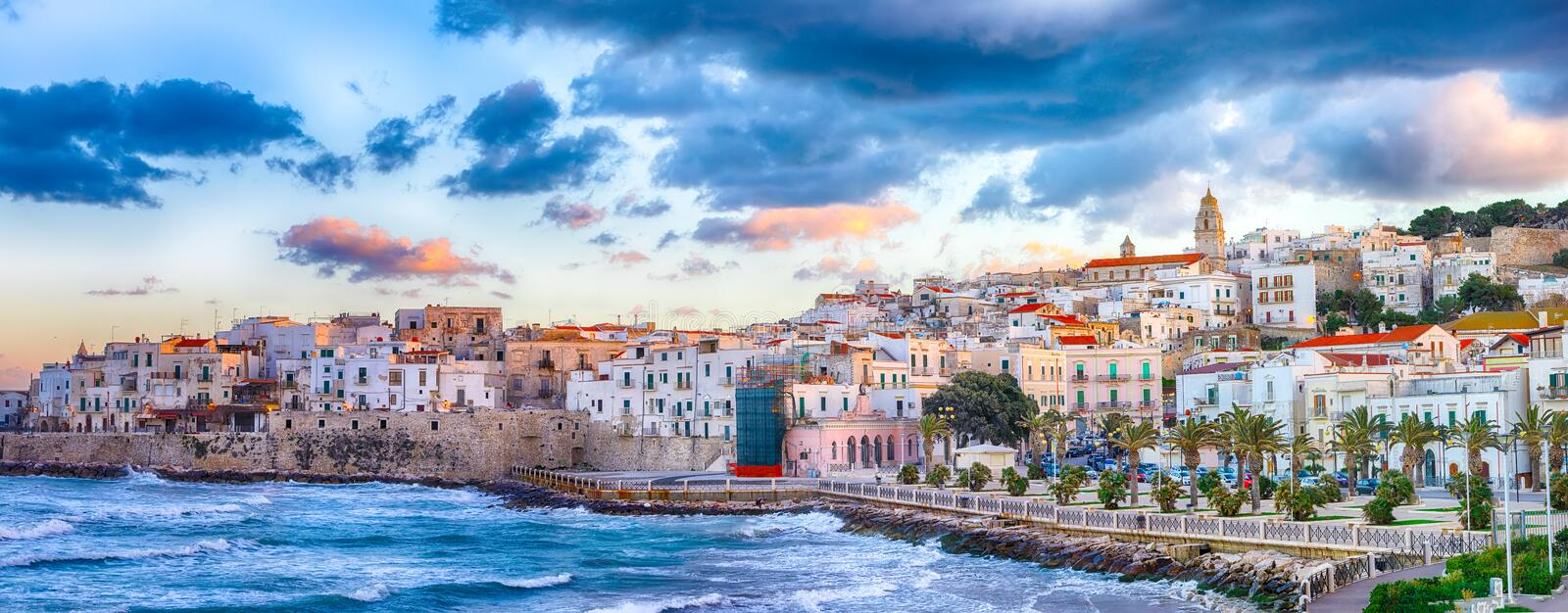 Historic central city of the beautiful town called Vieste stock photos