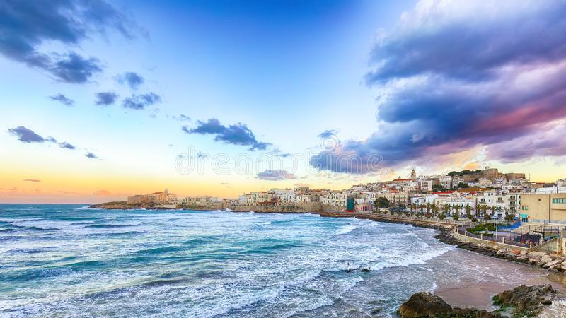 Historic central city of the beautiful town called Vieste stock image