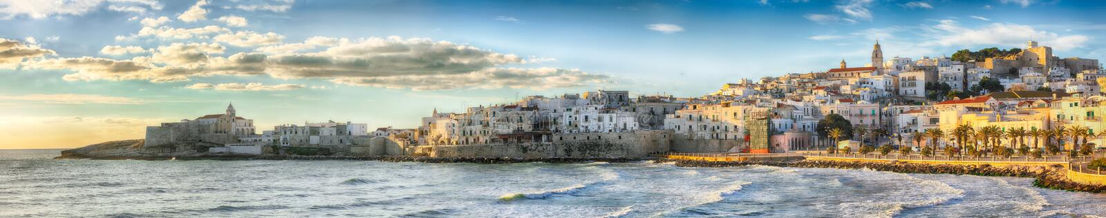 Historic central city of the beautiful town called Vieste royalty free stock photos