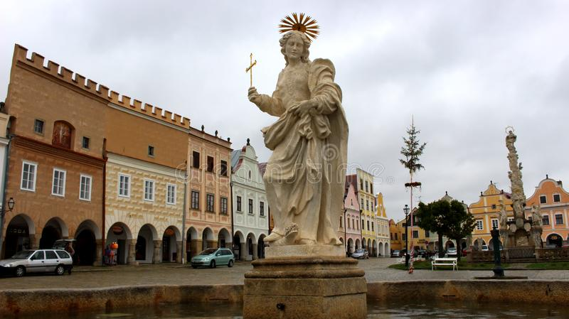 Historic Centre of Telč with statue of Holy Margaret royalty free stock photos