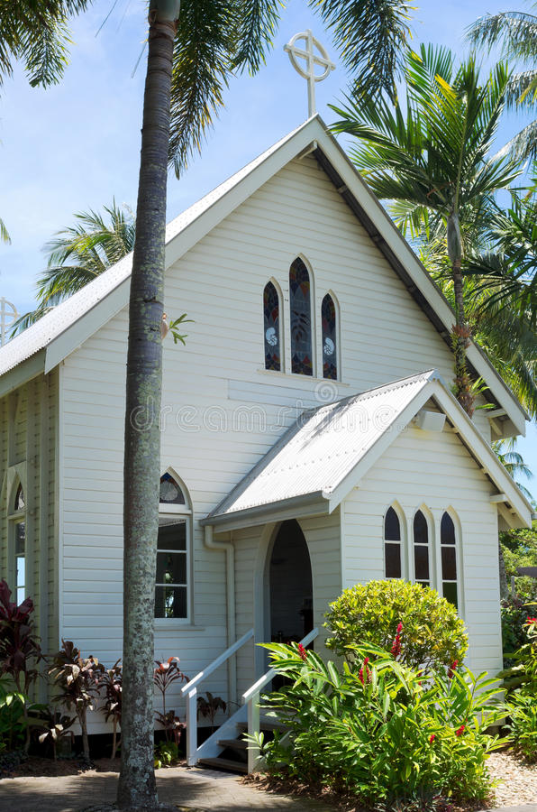 Historic Chapel and Entrance in Port Douglas. Historic gothic revival style chapel on shores of coral sea in tropical port douglas queensland australia royalty free stock photo