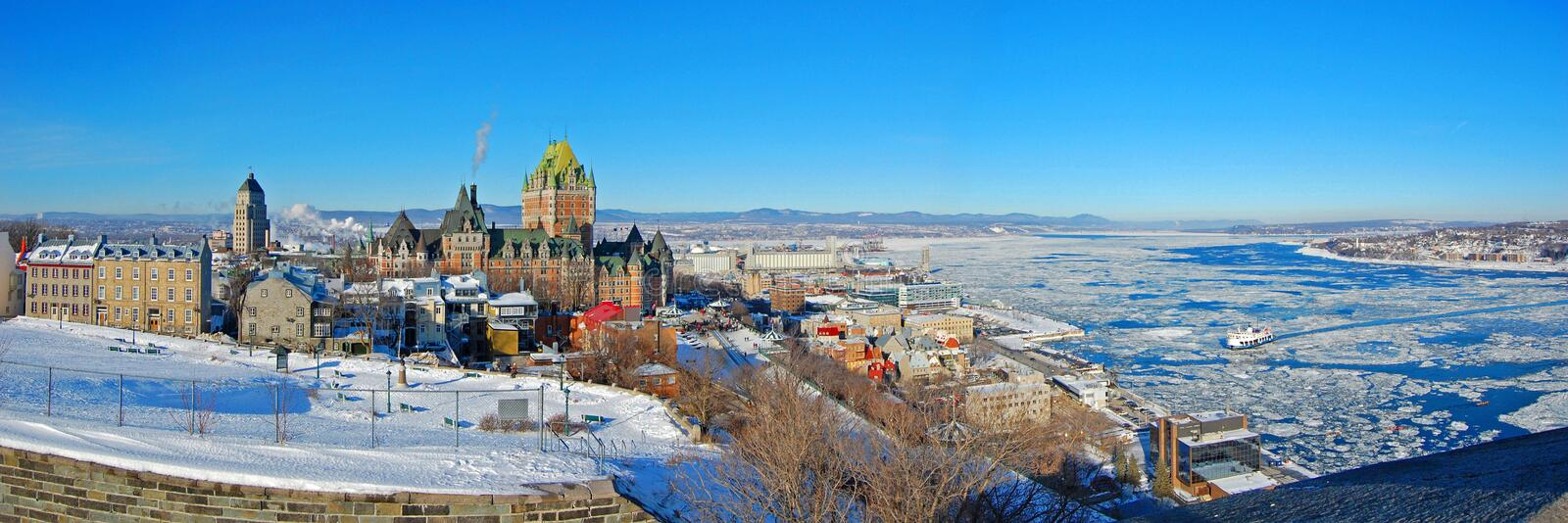 Historic Chateau Frontenac in Quebec City, QC, Canada stock image