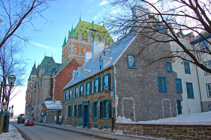 Historic Chateau Frontenac in Quebec City, QC, Canada royalty free stock photography