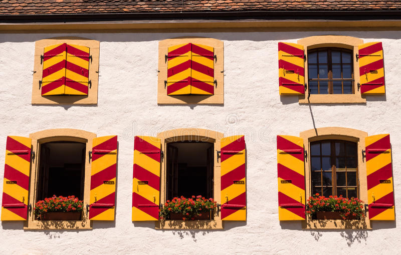 Historic Chateau in Neuchatel Switzerland stock photo