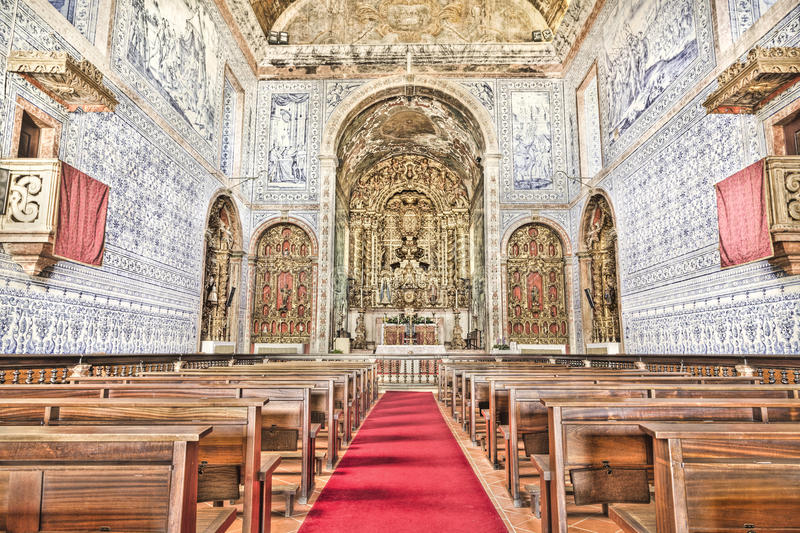Historic church in Castro, Verde, Alentejo, Portugal. Royal Basilica in Castro Verde, in the Alentejo. Rebuilt during the first half of the eighteenth century stock image