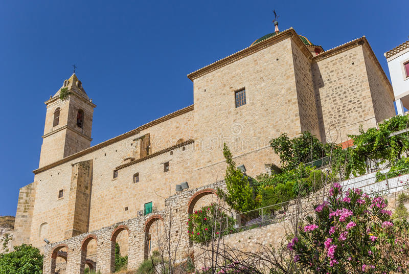 Historic church in the center of Alcala del Jucar. Spain royalty free stock images