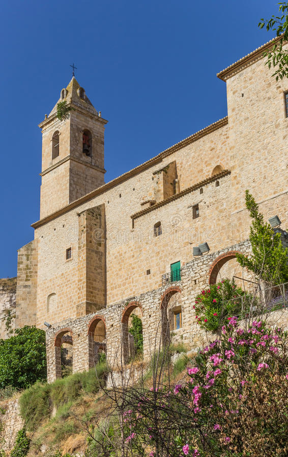 Historic church in the center of Alcala del Jucar. Spain stock images
