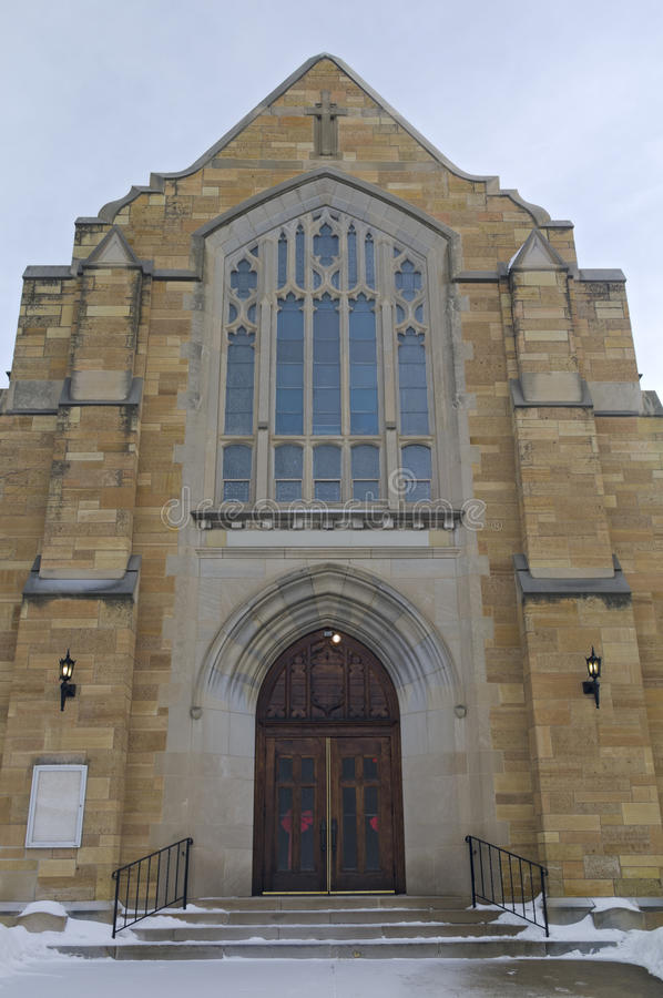 Historic Church Entrance of West Side Saint Paul royalty free stock images