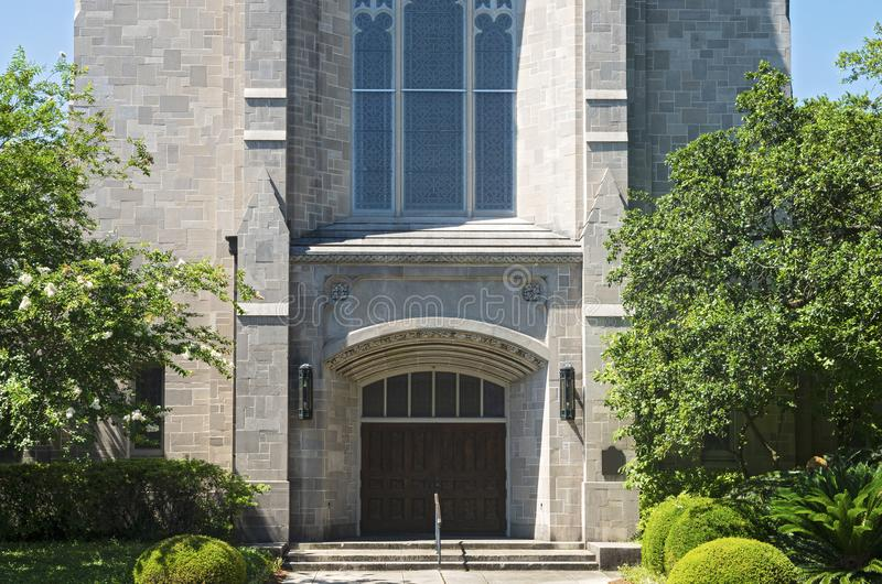 Historic Church Entry and Facade in New Orleans. Landmark church front entrance and lower facade in new orleans louisiana stock image