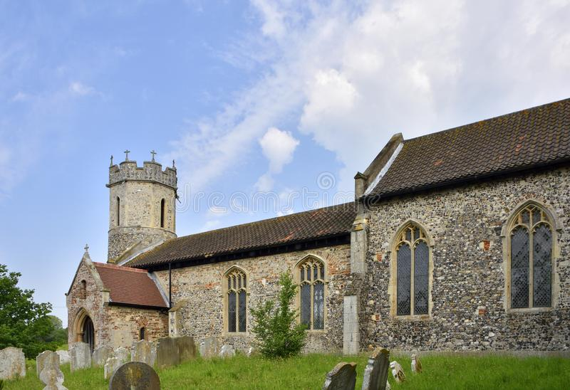 Historic Church and Graveyard of East Anglia. View of the historic church and graveyard of St. Mary, Hassingham, South Norfolk, England royalty free stock photo