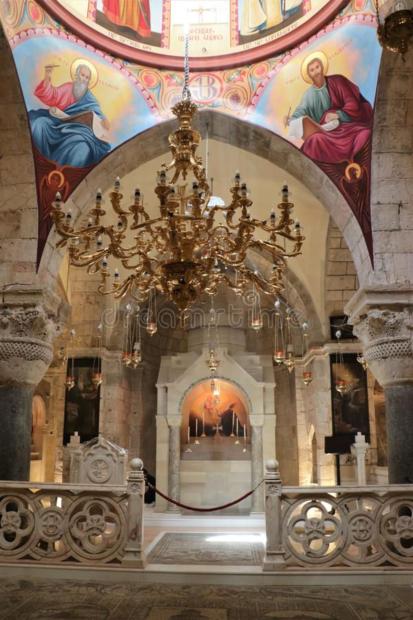 Church of the Holy Sepulchre Jerusalem, Israel. Historic church of the Holy Sepulchre in Jerusalem, Israel. It was consecrated in 335. The church contains royalty free stock photo