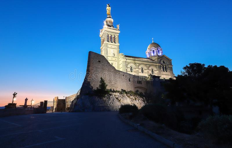 The historic church Notre Dame de la Garde of Marseille in South France at sunset. The famous historic church Notre Dame de la Garde of Marseille in South stock images
