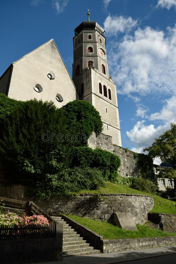 Bludenz, Vorarlberg, Austria. Historic church in old small alpine town Bludenz - Austria stock photography
