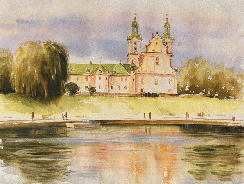 Church, Krakow, Poland. The historic Church on the Rock, also called Skalka, the Pauline Church and St Stanislaw`s church, on the banks of the river Vistula in royalty free illustration