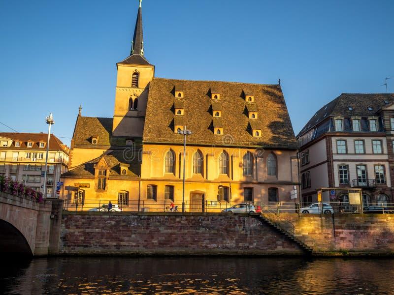 Church of Saint Nicolas along the Ill River in Strasbourg stock image
