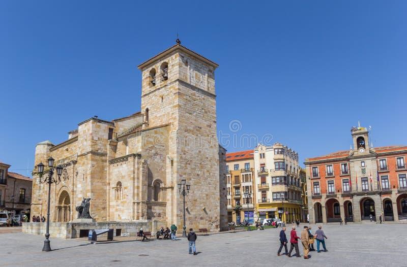 Historic church of San Juan in the center of Zamora stock image
