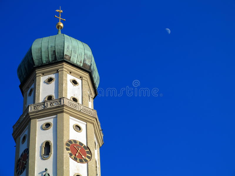 Church dome in rich blue sky royalty free stock photo