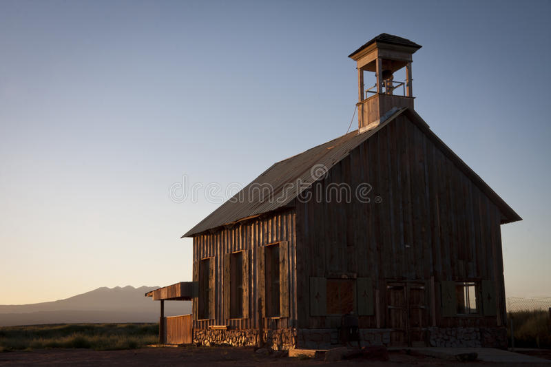 Historic church sunrise. Historic western pioneer church in morning low light royalty free stock images