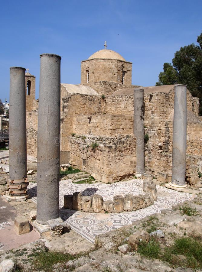 The historic church of yia Kyriaki Chrysopolitissa in paphos cyprus showing the building and the surrounding old roman columns and. Ruins stock images