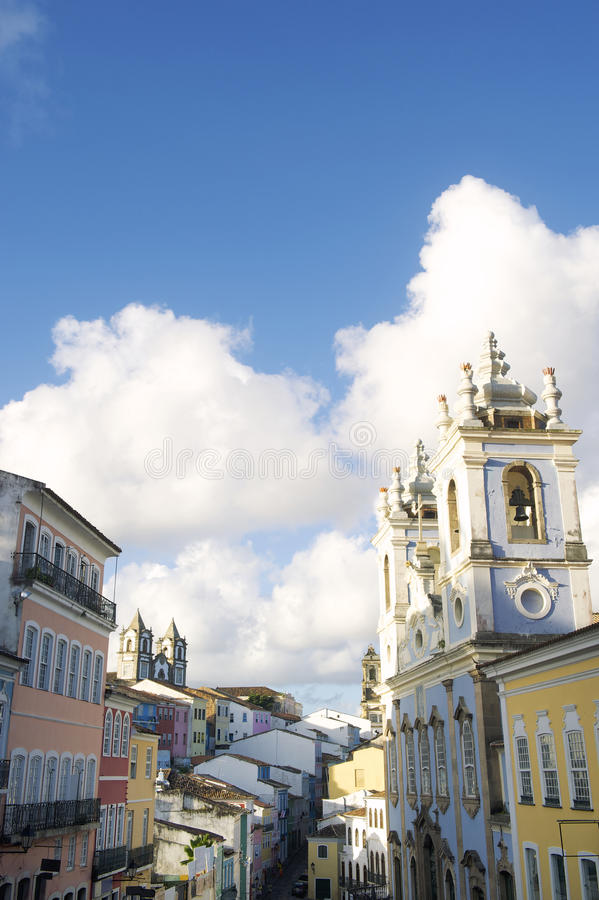 Historic City Center of Pelourinho Salvador Brazil. Historic city center of Pelourinho Salvador da Bahia Brazil features colorful colonial buildings royalty free stock images