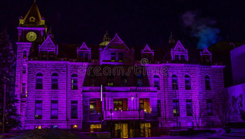 Historic City Hall in Christmas colours royalty free stock photos