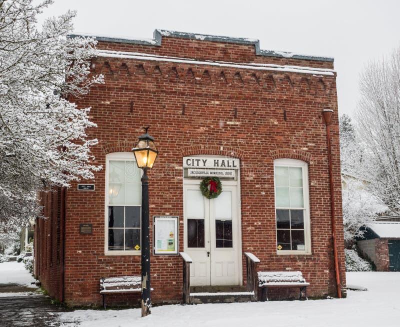 Historic city hall with snow royalty free stock photos