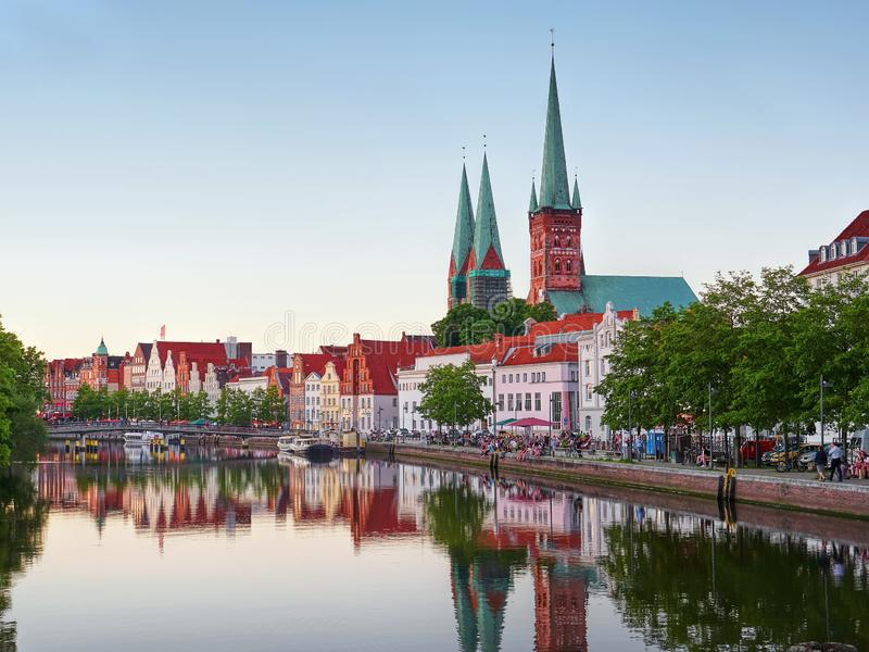 Historic city of Luebeck with famous Trave river Schleswig-Holstein royalty free stock image