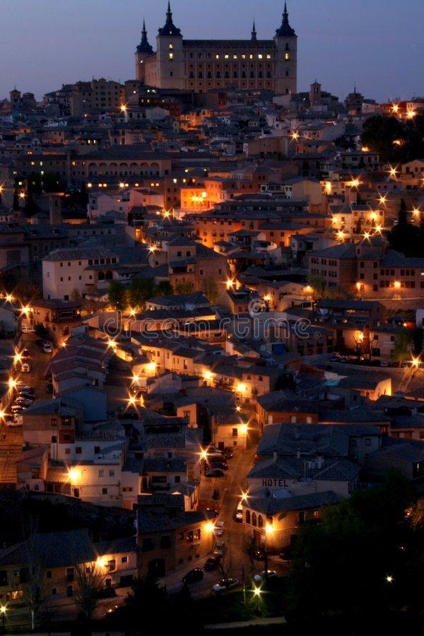 Historic city at night. Historic medieval city during nightfall stock photos