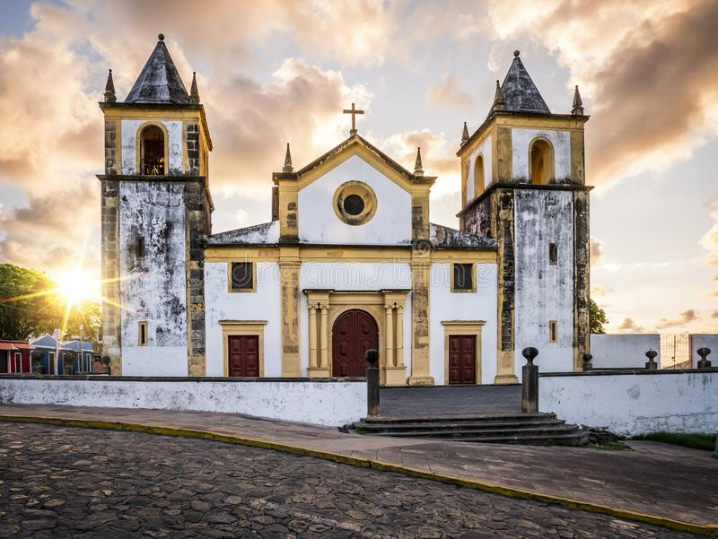Olinda in Pernambuco, Brazil. The historic city of Olinda in PE, Brazil with its colonial buildings and cobblestone streets at sunrise stock image