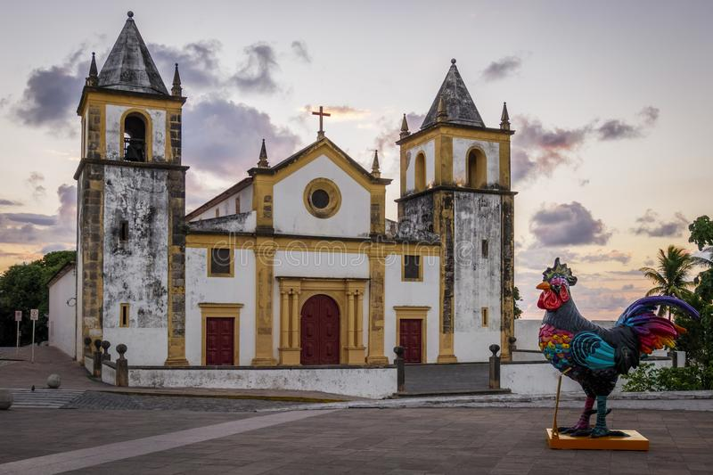 Olinda in PE, Brazil. The historic city of Olinda in Pernambuco, Brazil with its colonial buildings and cobble stone streets stock photography