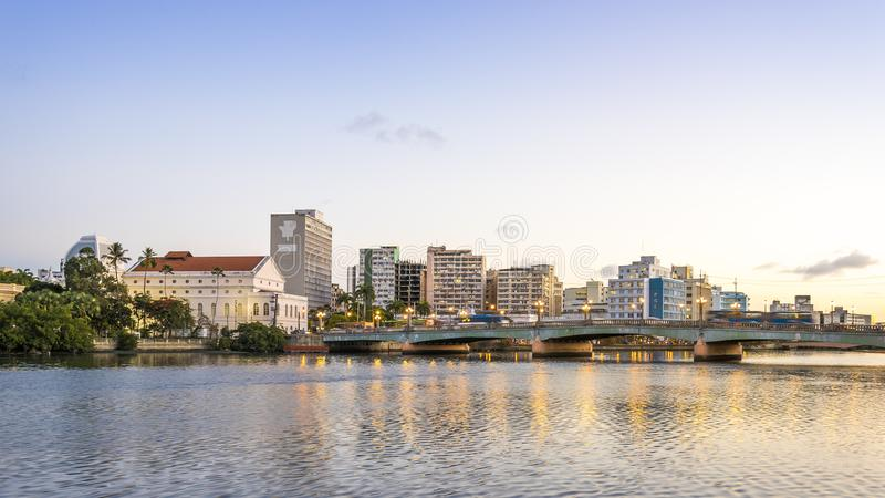Recife in PE, Brazil. The historic city of Recife in PE, Brazil by the Capibaribe river royalty free stock image